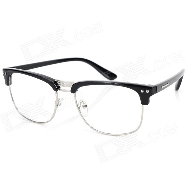 Unisex Fashionable Half-Rim Metal Plain Spectacles Frame for Myopia Glasses - Black