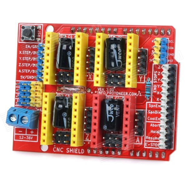 CNC Shield V3 Carving Machine / 3D Printer Expansion Board for Arduino - Red + Yellow