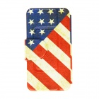 Kinston US Flag Pattern PU Leather Full Body Case with Stand for IPHONE 6 Plus - Red + Blue