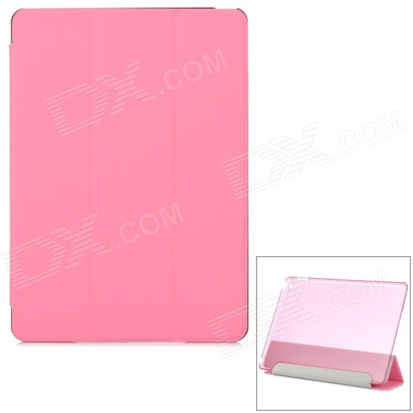 Protective Ultra-Slim Smooth Smart PU Case w/ PC Back, Stand for IPAD AIR 2 - PinkIpad Cases<br>Form  ColorPink + Translucent PinkQuantity1 DX.PCM.Model.AttributeModel.UnitMaterialOthers,PU + PCShade Of ColorPinkCompatible ModelsIPAD AIR 2DesignSolid Color,TransparentTypeFull Body CasesAuto Wake-up / SleepYesOther FeaturesProtects the device from dust, shock and scratches. Cover can be folded as a stand for better viewing; Translucent plastic back case design.Packing List1 x Case<br>