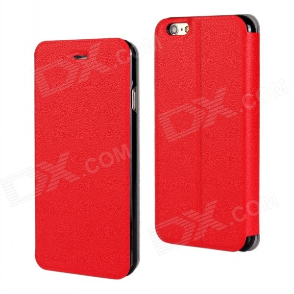 "Stylish Protective Flip-Open PU Leather + PC Case Cover w/ Stand for IPHONE 6 PLUS 5.5"" - Red"