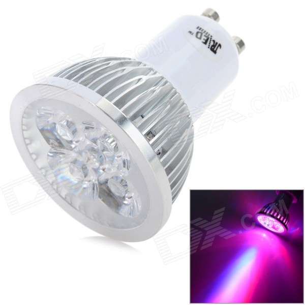GU10 4W 200lm 3-LED Red 1-LED Blue Light Plant Growth Lamp Spotlight - White + Silver (AC 100~240V)GU10<br>Form  ColorWhite + SilverColor BINRed + BlueBrandJRLEDModelRLED-GU10-4WMaterialPlastic + aluminum alloy + acrylicQuantity1 DX.PCM.Model.AttributeModel.UnitPower4WRated VoltageAC 100-240 DX.PCM.Model.AttributeModel.UnitConnector TypeGU10Actual Lumens100~200 DX.PCM.Model.AttributeModel.UnitChip BrandEpistarChip TypeE-01Emitter TypeLEDTotal Emitters4Color Temperature12000K,Others,NoDimmableNoWavelengthRed: 660nm; Blue: 460nmBeam Angle30 DX.PCM.Model.AttributeModel.UnitOther Features3-LED red light + 1-LED blue light, can improve the growth of stem leaves, extend its flowering period, and increase its yield, etc.Packing List1 x Spotlight<br>