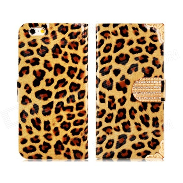 Leopard Pattern Rhinestone Decorated PU Leather Case w/ Stand for IPHONE 6 - Yellow + Brown