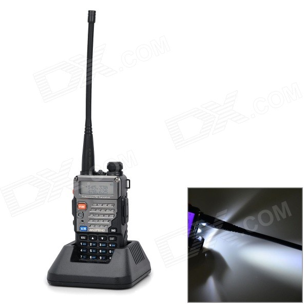 Buy BAOFENG 5RPIUS PVC + Steel 128-CH Dual Band Walkie Talkie w/ FM / LED - Black with Litecoins with Free Shipping on Gipsybee.com