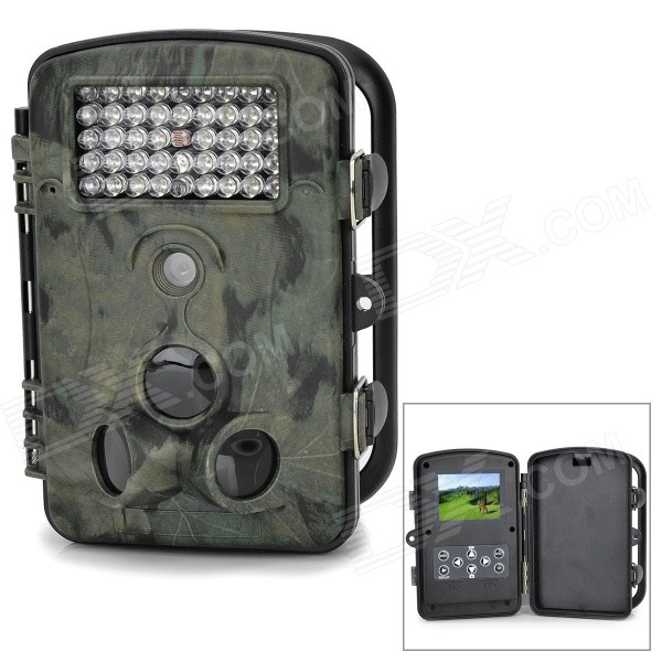 "RD1000 Outdoor Waterproof 2,4 ""TFT 1/3"" CMOS 5.0MP Camera w / 42-LED / 2-IR LED / SD - Black"
