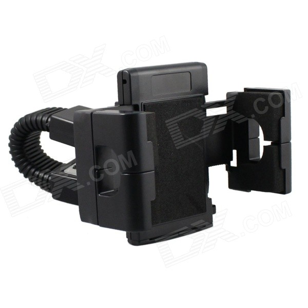 360° Rotatable Motorcycle Mounted Holder Bracket for GPS / IPHONE 6 / Samsung Galaxy S5 - BlackMotorcycle Phone Holders<br>Form  ColorBlackBrandN/AModelS2107W-MAQuantity1 DX.PCM.Model.AttributeModel.UnitMaterialABS + steelApplicable ProductsIPHONE 5,IPHONE 4,IPHONE 4S,IPHONE 3G,IPHONE 3GS,Cellphone,GPS,MP4Adjustable Height3 cmAdjustable Width:3 cmRotation360 DX.PCM.Model.AttributeModel.UnitMax. Load3 DX.PCM.Model.AttributeModel.UnitPacking List1 x Holder1 x Motorcycle mount (18cm)<br>