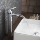 YDL-F-0592 Contemporary Tall Chrome-plated Brass Waterfall Bathroom Sink Faucet - Silver