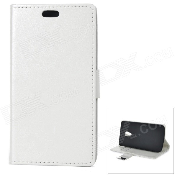 Protective Flip-Open PU + PC Case Cover w/ Stand / Card Slots for Motorola Moto G2 - White