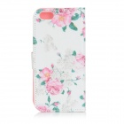 Flowers Pattern Flip-open PU Leather Case w/ Stand / Card Slots for IPHONE 6 - White + Pink