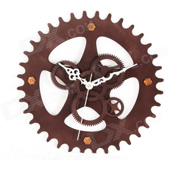 Retro Gear Style Analog Wall Clock - Deep Brown (1 x AAA)