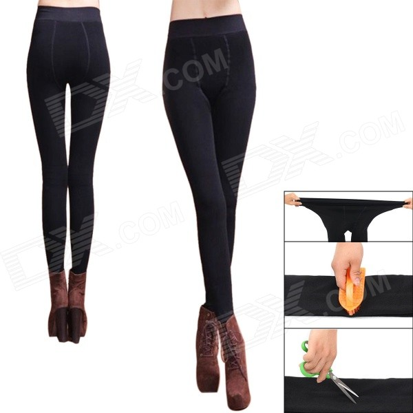 Fashionable Thickened Nylon + Fabric Warm Leggings - Black