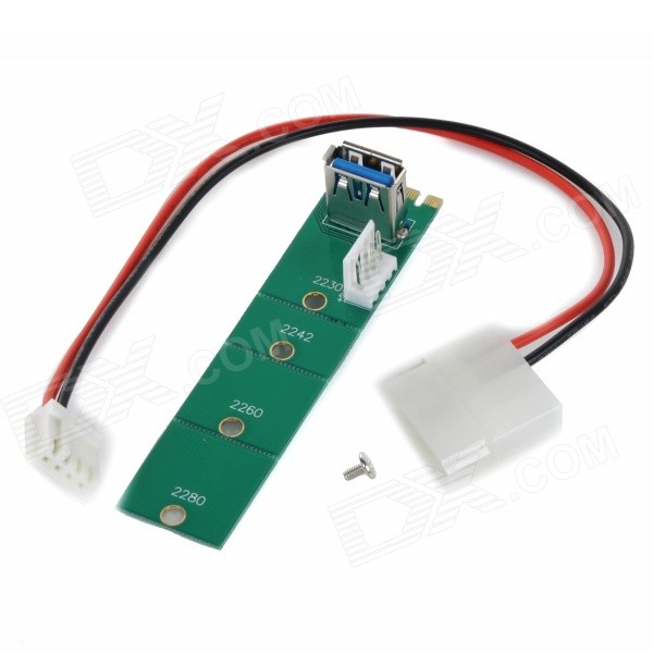 M.2 NGFF to USB 3.0 Adapter Card w/ Extender Cable - Green