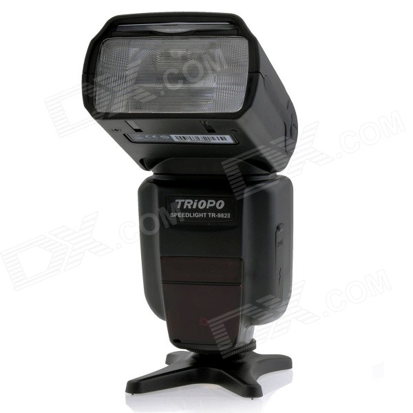TRIOPO TR-982II C E-TTL Master/Slave High Speed Sync 1/8000s Flash Speedlite for Canon DSLR CameraLighting and Flash<br>Form  ColorBlackModelTR-982II CMaterialABS shellQuantity1 DX.PCM.Model.AttributeModel.UnitCompatible BrandCanonCompatible ModelsUniversalActual Lumens1200 DX.PCM.Model.AttributeModel.UnitTheoretical Lumens1200 DX.PCM.Model.AttributeModel.UnitTypeOthers,SpeedliteVarible Focus YesTTL Mode   E-TTL/i-TTLGN58 DX.PCM.Model.AttributeModel.UnitColor Temperature5500KMax Sync Speed1/8000 DX.PCM.Model.AttributeModel.UnitRecycle time2.9 DX.PCM.Model.AttributeModel.UnitIllumination Angle60°Working Voltage   6 DX.PCM.Model.AttributeModel.UnitPower10 DX.PCM.Model.AttributeModel.UnitLED Quantity1 DX.PCM.Model.AttributeModel.UnitBattery TypeAA,Ni-MH battery,Ni-CD batteryBattery included or notNoBattery Quantity4 DX.PCM.Model.AttributeModel.UnitCertificationCEOther FeaturesScreen Type: LCD<br>Screen Size: 2.2 inchPacking List1 x TR-982II C Speedlite1 x Stand1 x Flash diffuser1 x Protective Pouch1 x English / Chinese user manual<br>