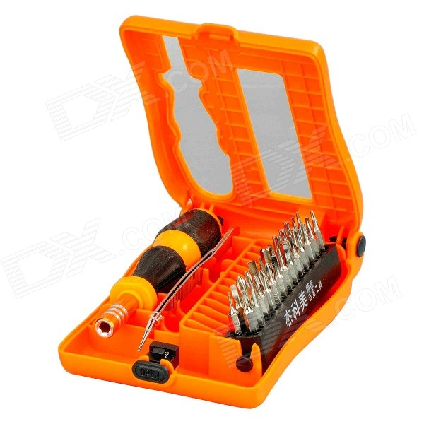 JAKEMY JM-8103 28-in-1 Digital Device Repairing Screwdriver Tools Set - Orange + Black + SilverScrewdriver, Screwdriver Set<br>Form  ColorOrange + Black +SilverBrandJAKEMYModelJM-8103Quantity1 DX.PCM.Model.AttributeModel.UnitMaterialPlastic + chrome vanadium steelScrew Head TypeSlotted,Phillips,Torx,Hex,All-in-One,Others,U-shaped, triangularScrew DriverT3, T4, T5, T6, T7, T8, T9, T10, T15, T20, H1.3, H1.5,  H3.0,  H4.0, flat  1.5, 2.0, 2.5, 3.0, cross 1.0, 1.5, 2.0, 2.5, triangle 2.0, Y2.0, *0.8, U2.6Other Features- With magnet: yes; - HRC: 50-52HRC; - Accuracy: 98%CertificationCEPacking List1 x Handle1 x 100mm Curved Tip tweezers26 x Screwdriver bits<br>