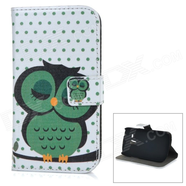 Cute Owl Print Flip-open PU Leather Case w/ Holder for Samsung Galaxy S3 Mini i8190 - Green + White
