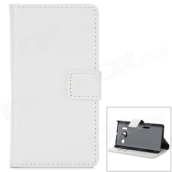 W-7 Classic Flip-open PU Leather Case w/ Stand for HUAWEI Y300 - White