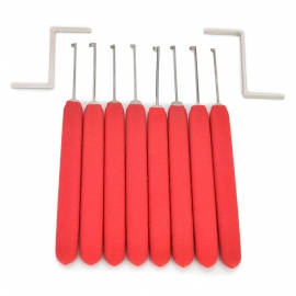 AML020159 8-in-1 Stainless Steel Kaba Mechnical Lock Picking Tool Set - Red + Silver