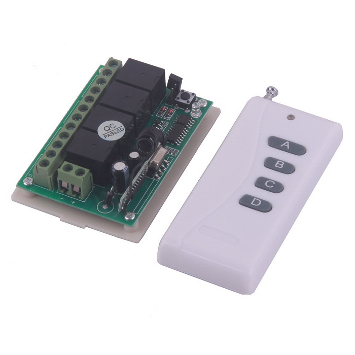 ZnDiy-BRY Learning Code 4-Channel Remote Switch w/ Wireless Remote Controller