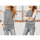 Women's Casual Round Neck Lace Sleeves Patchwork Blouse Sweatshirt - Gray (Size L)