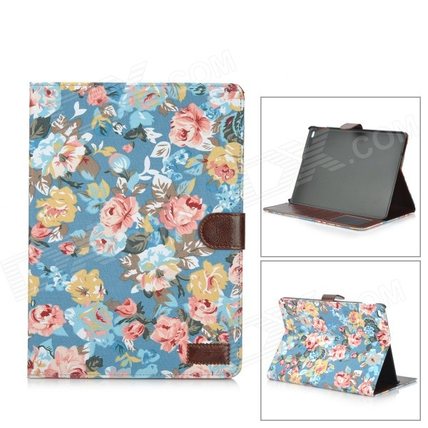 Fashion Flowers Pattern PU Leather Smart Case w/ Stand / Card Slots for IPAD AIR 2 - Blue + Yellow