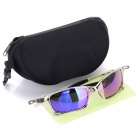 Outdoor Cycling UV400 Protection Zinc Alloy Frame Resin Lens Polarized Sunglasses - Silver + Blue