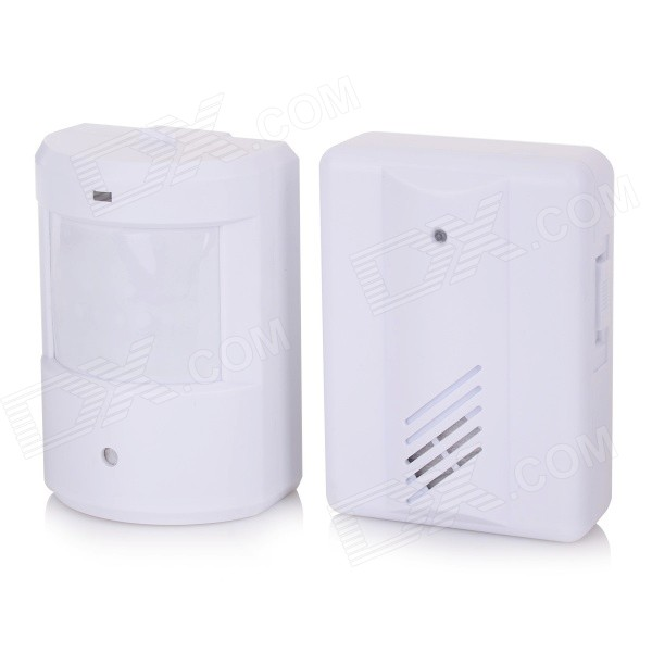 Infrared-Induction-Doorbell-Transmitter-2b-Receiver-Set-White-(2-x-AA)