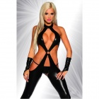 Ultra-Sexy Open Crotch Slim One-Piece Lingerie w/ G-String - Black