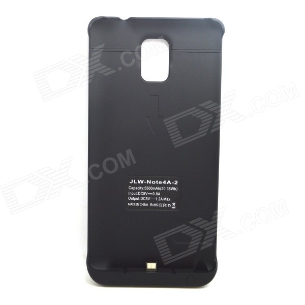 5000mAh Li-po Portable Battery Charger Power Back Case for Samsung Galaxy Note 4 - Black