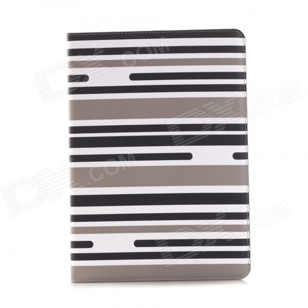 Protective Flip-Open PU Case w/ Card Slot / Stand /Auto Sleep for IPAD AIR 2 - Black + Multicolored