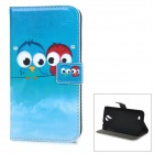 Cute Owl Pattern PU Leather Wallet Case w/ Card Slot, Stand for Samsung Galaxy S4 / i9500 - Blue