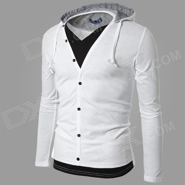 CSCS-HW-WY44 Two-Piece Style Men's Leisure Cotton Blended Hoodie Jacket - White + Black (XL)