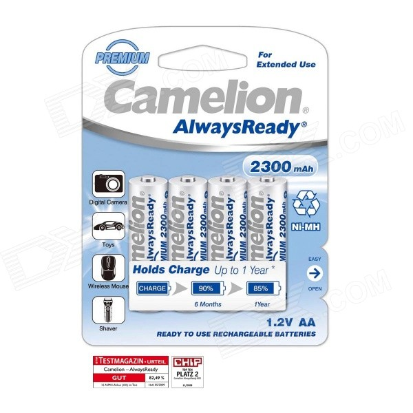 Buy Camelion AlwaysReady 2300mAh Low Self-Discharge Ni-MH AA Rechargeable Batteries (4 PCS) with Litecoins with Free Shipping on Gipsybee.com