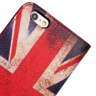 Stylish US Flag Pattern Flip-open PU Leather + PC Case w/ Holder + Card Slots for IPHONE 6