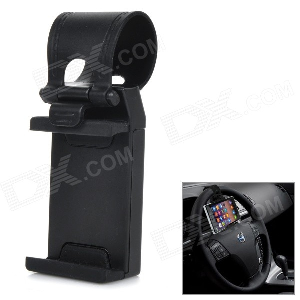 Buy Universal Car Steering Wheel Mount Holder for Cellphone GPS - Black with Litecoins with Free Shipping on Gipsybee.com