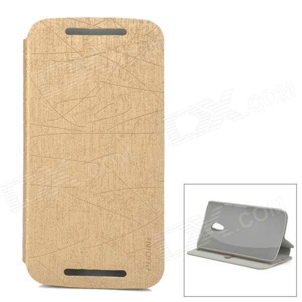 PUDINI WB-PDLG2 PU + PC Flip-Open Case w/ Stand for MOTO G2 - Champagne Gold