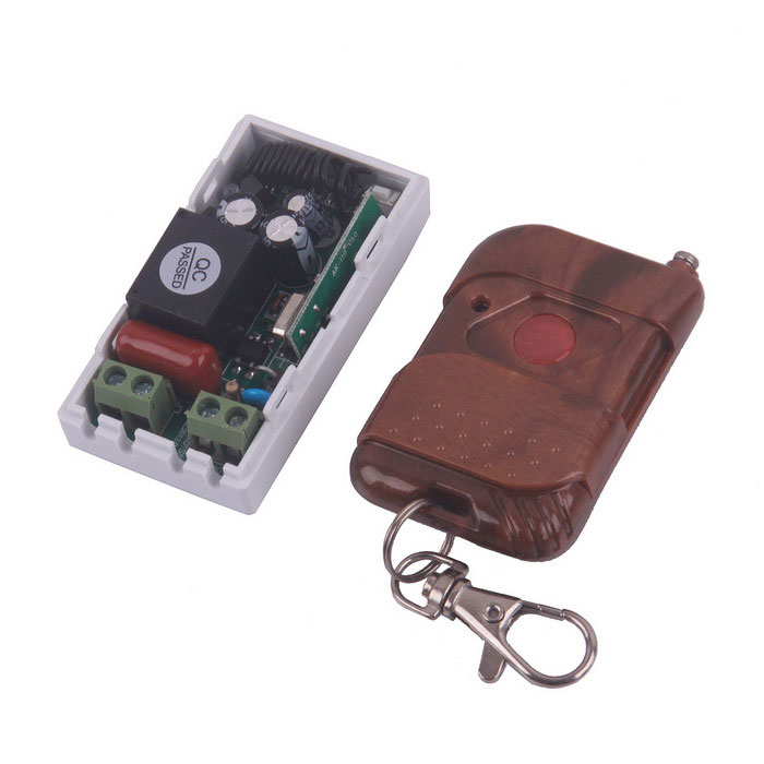ZnDiy-BRY 220V 1-CH Remote Control Switch + Single Key Push Cover Remote ControlSwitches &amp; Adapters<br>ModelZBYC10Quantity1 DX.PCM.Model.AttributeModel.UnitForm  ColorOthers,White + BrownMaterialPVC+PlasticEnglish Manual / SpecNoOther FeaturesTransmitter: <br>- Working current: 12mA;<br>- Operating Frequency: 315/433MHz;<br>-Transmitting Distance: 50-200m (Theoretically).<br>Receiver:<br>- Maximum load: 1500W.CertificationN/APacking List1 x Remote Control Switch1 x Controller (included 1 x 23A/12V battery)<br>