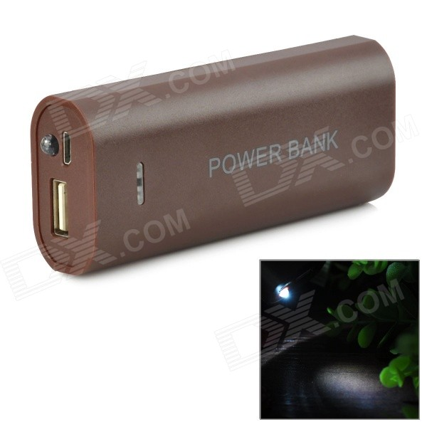 Buy DIY 2 x 18650 Li-ion Mobile Power Bank Case w/ LED Flashlight - Deep Coffee with Litecoins with Free Shipping on Gipsybee.com
