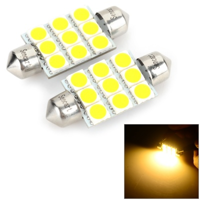 SENCART Festoon 39mm 5W 180LM 3500K 9 x 5054 SMD LED Warm White Light Reading Lamp (12~16V / 2 PCS)