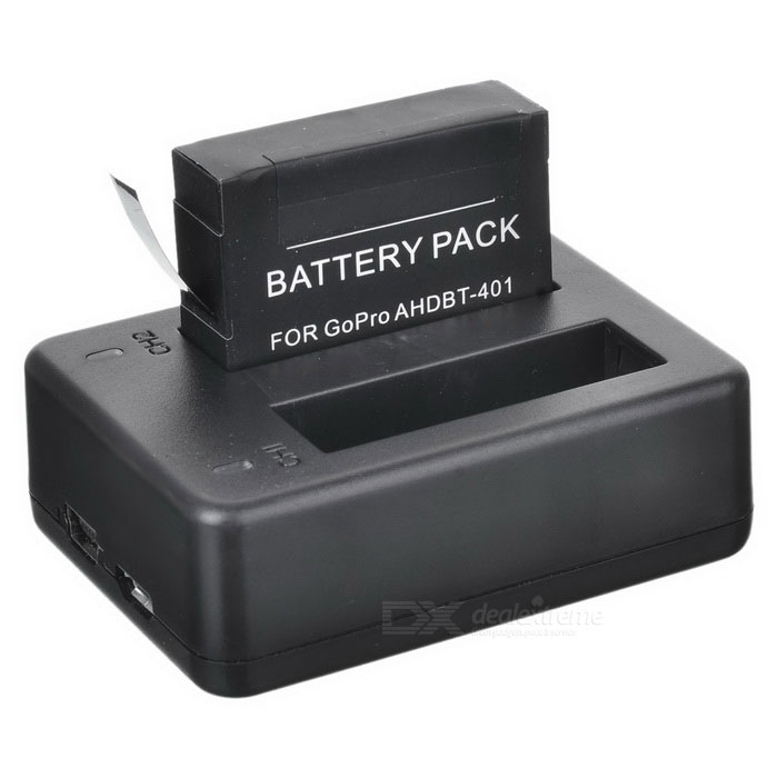 Rechargeable 1230mAh 3.8V Li-ion Batteries + Dual-USB Charger Set for GoPro Hero 4 - Black