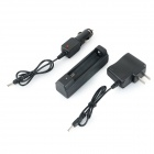 18650 Li-ion Battery Charging Stand + In-Car Charger + Travel Charger Set - Black