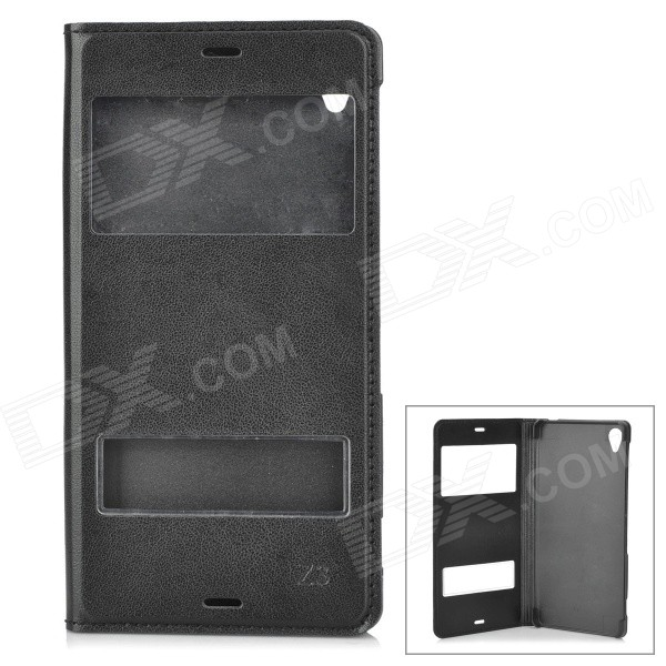 Protective PU + PC Flip-Open Case w/ Dual Window Display for Sony Xperia Z3 - Black