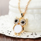 Owl Style Rhinestone Inlaid Pendant Necklace - White + Golden + Muti-Color