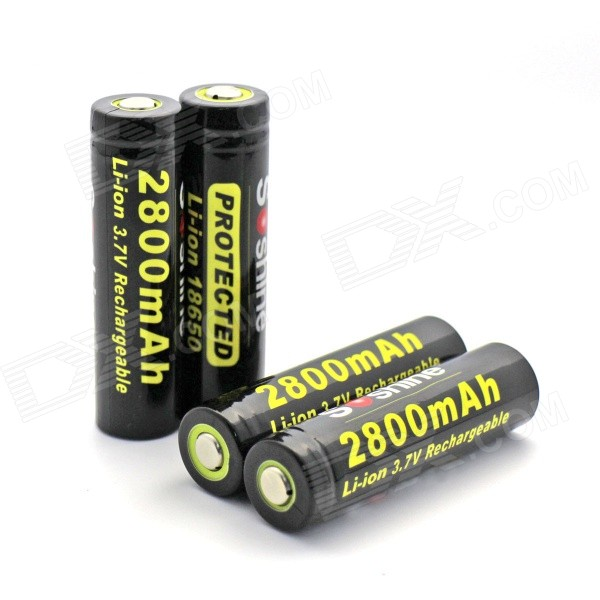 Soshine Li-ion 2800mAh Anode Protection 18650 Batteries with Case - Black + Yellow (4 PCS)
