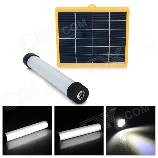 N880 Multi-functional 390lm 6-Mode White Light LED Solar Flashlight Emergency Lamp - Silver + White