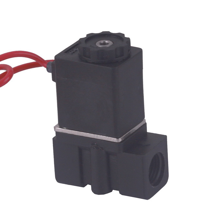 "220V AC 1/4"" N/C Normally Closed Plastic Electric Air Gas Water Solenoid Valve - Black"