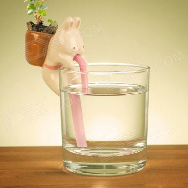 Buy Self Watering Mini Cute Bunny Style Plant Pot - Beige (Mint) with Litecoins with Free Shipping on Gipsybee.com