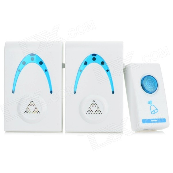 503K3 32-Melody Wireless Remote Control Transmitter + Double Receivers Doorbell Set - White