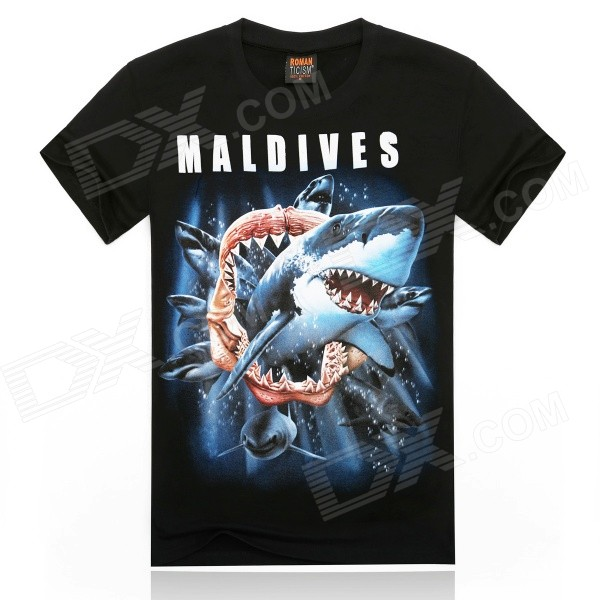ROMAN 3D Printing Shark Design Cotton T-shirt - Black + Multicolor (Size XXL)
