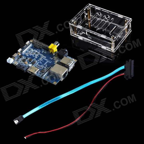 FineSource DIY-B Banana Pi Board + SATA Cable + Acrylic Box for Banana Pi - Blue + Transparent