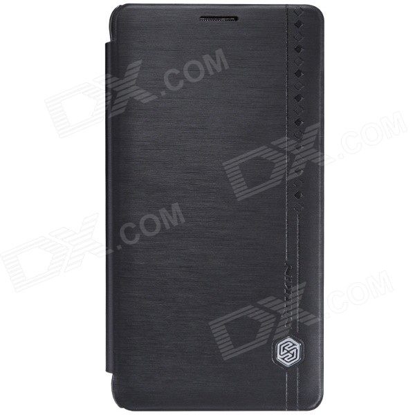Nillkin Silk Series Protective PU Leather Case w/ Auto Sleep for Samsung Galaxy Note 4 - Black